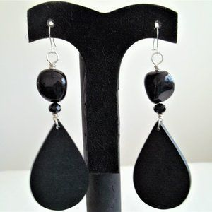 Handmade Black Wooded/Beaded Drop/Dangle Earrings